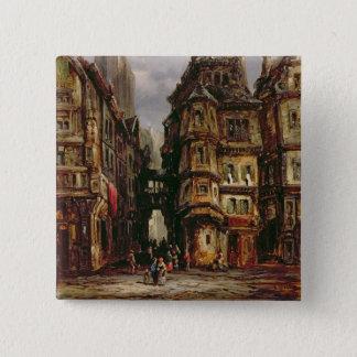 Eine Ansicht in das jüdische Viertel, Frankfurt, Quadratischer Button 5,1 Cm