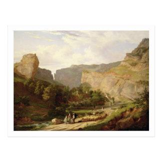 Eine Ansicht von Cheddarkäse-Schlucht (Öl auf Postkarte