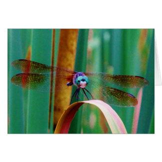 Eine aquamarine mit Augen Libelle mit Cattails Karte