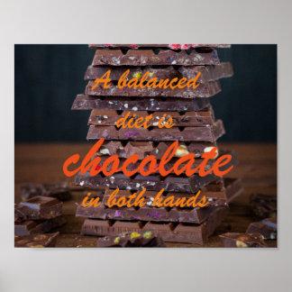 Eine ausgewogene Diät ist Schokolade in beiden Poster