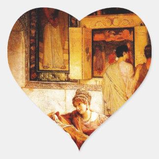 Eine Bildergalerie durch Sir Lawrence Alma Tadema Herz-Aufkleber