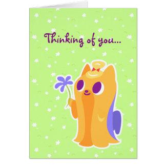 """""""Eine Blume für Sie"""" langhaariges Kawaii Yorkie Karte"""