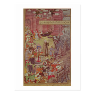 Eine Brücke der Boote an gebrochen durch Akbar Postkarte