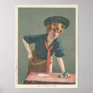 Eine Bunco Spiel-Vintage Kunst Poster