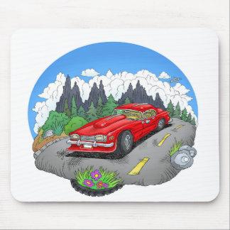Eine Cartoonillustration eines Autos Mousepad