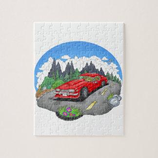 Eine Cartoonillustration eines Autos Puzzle