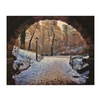 Eine Central Park-Brücke im Winter Holzdruck
