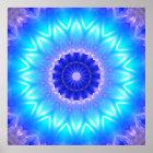 eine cyan-blaue Mandala für Kehle chakra Poster