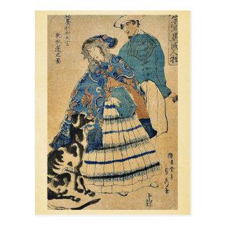 Eine Dame, die Akkordeon durch Utagawa, Sadahide Postkarte