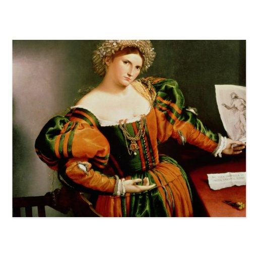 Eine Dame mit einem Zeichnen von Lucretia, c.1530- Postkarte