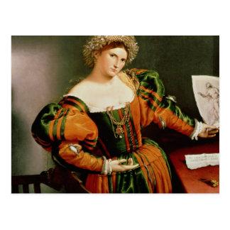 Eine Dame mit einem Zeichnen von Lucretia, Postkarte