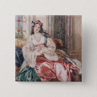Eine Dame Seated in Osmanen tragendes Innenturki Quadratischer Button 5,1 Cm