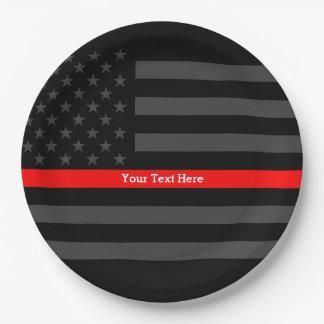 Eine dünne rote Linie US-Flagge Ihr eigenes Pappteller