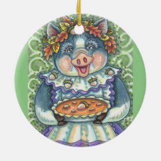 Eine Eichel-und Kürbis-Torte SCHWEIN-VERZIERUNG Keramik Ornament