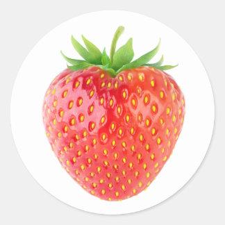 Eine Erdbeere Runder Aufkleber