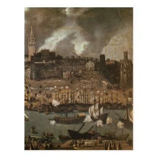 Eine Expedition, die von Sevilla für darlegt Postkarte