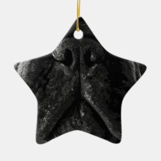 Eine französische Schwarzweiss-Bulldogge Keramik Ornament