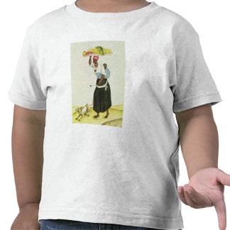 Eine Frau, die einen Behälter der Frucht auf ihrem Shirt