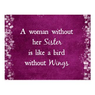 Eine Frau ohne ihr Schwester-Zitat Postkarte