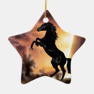 Eine friesische Stallionspferdeerrichtung Keramik Stern-Ornament
