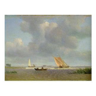 Eine frische Brise auf der Elbe, c.1830 Postkarte