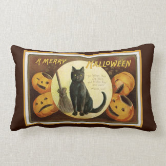 Eine fröhliche schwarze Katze und Kürbise Brown Lendenkissen