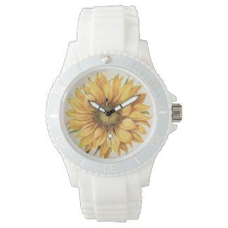 Eine gelbe Sonnenblume Uhr