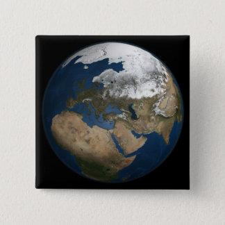 Eine globale Ansicht über Europa und Skandinavien Quadratischer Button 5,1 Cm