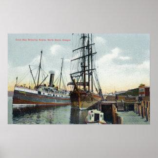 Eine Gurren-Bucht-Verschiffen-Szene am Dock Poster