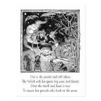 Eine Hexe braut für Waldfreunde Postkarte