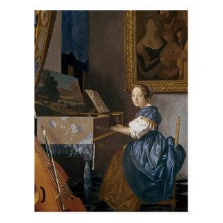 Eine junge Dame gesetzt an einem Virginal, c.1670 Postkarte