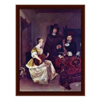 Eine junge Frau, zwei Männer auf dem Theorbo Spiel Postkarte