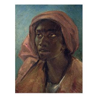 Eine junge Schwarze-Frau Postkarte