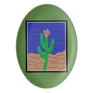 Eine Kaktus-Blume Porzellan Servierplatte