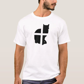 Eine Katze mit der kornischen Flagge T-Shirt