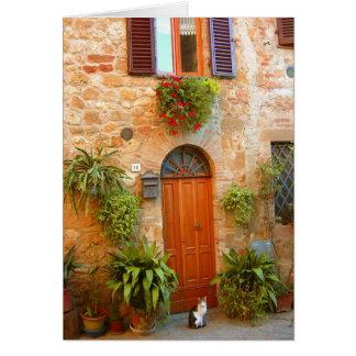 Eine Katze sucht Eingang zum Zuhause in Pienza, Karte