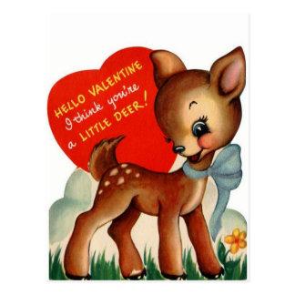 Eine kleine Postkarte Rotwild| Vintage Valentine-|