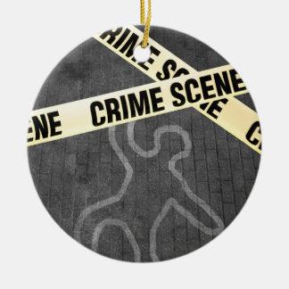 Eine Kontur einer Person auf einer Straße. Mord? Keramik Ornament