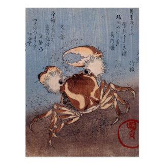 Eine Krabbe auf der Küste durch Utagawa Kunisada Postkarte