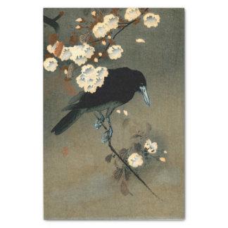 Eine Krähe und eine Blüte durch Ohara Koson Vintag Seidenpapier