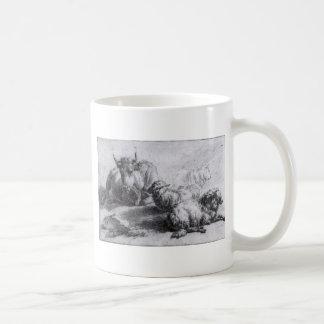 Eine Kuh und drei Schafe durch Adriaen van de Kaffeetasse