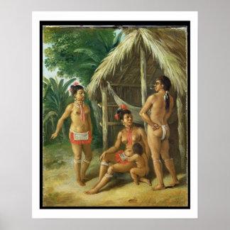 Eine Leewardinselncarib-Familie außerhalb einer Hü Poster