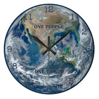 Eine Leute - eine Welterduhr (rund) Große Wanduhr