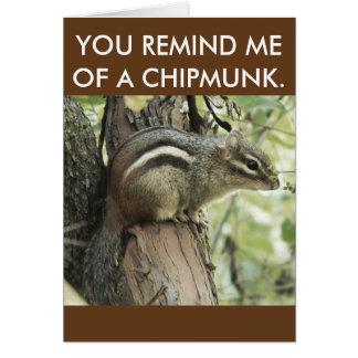 Eine lustige Chipmunkkarte, die stark vereinfacht Mitteilungskarte