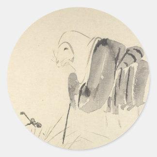 Eine Maus als Mönch durch Shibata Zeshin Runder Aufkleber