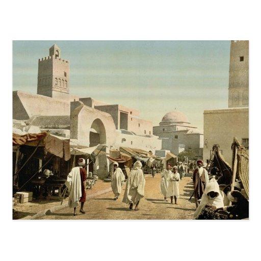 Eine Moschee in der Hauptstraße, Kairwan, Tunesien Postkarten