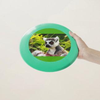 eine Mündung eines Lemur von Madagaskar auf Wham-O Frisbee