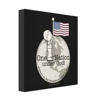 Eine Nation unter Gott-Kleinem Jungen an US-Flagge Leinwanddruck