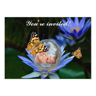 Eine niedliche Babylilien-Schmetterlingsblase 12,7 X 17,8 Cm Einladungskarte