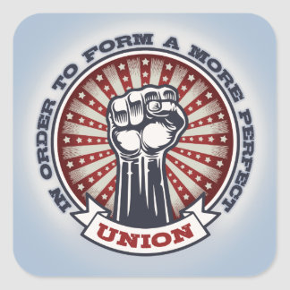 Eine perfektere Gewerkschaft Quadratischer Aufkleber